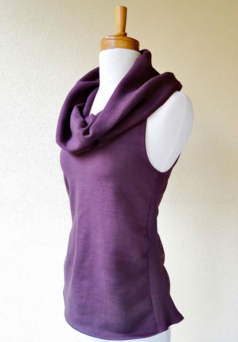 women's cowl top purple